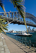 Sydney Harbour Bridge viewed from Milsons Point, with Rivercat, Ferry and Sydney Opera House in background. Sydney, Australia