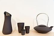 Minimallst ceramics by designer craftsman Ditte Fischer in stylish shop, Laederstraede in Copenhagen, Denmark - teapot jug vase