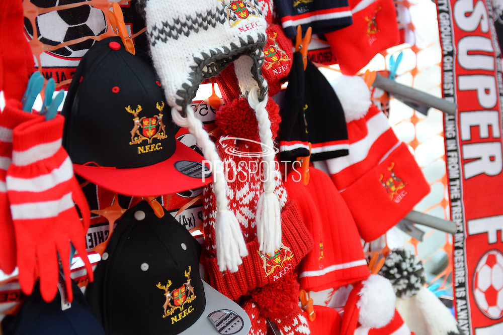 Forest hats and scarves at street venders store during the EFL Sky Bet Championship match between Nottingham Forest and Aston Villa at the City Ground, Nottingham, England on 4 February 2017. Photo by Jon Hobley.