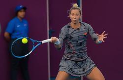 February 9, 2019 - Doha, QATAR - Tereza Mrdeza of Croatia in action during qualifications at the 2019 Qatar Total Open WTA Premier tennis tournament (Credit Image: © AFP7 via ZUMA Wire)
