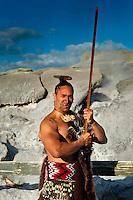 A Maori warrior with a ta moko (facial tattoo) performs a war haka (dance), with the Pohutu Geyser behind, Te Puia (New Zealand Maori Arts & Crafts Institute), Rotorua, New Zealand