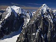Aerial view Mt. Wake and Mt. Bradley on the west side of The Great Gorge, Ruth Glacier, Denali National Park, Alaska.