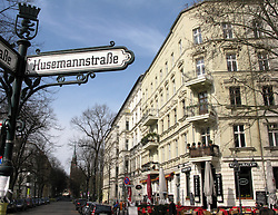 Beautiful historic buildings in KollwitzPlatz in heart of bohemian district of Prenzlauer Berg in Berlin Germany
