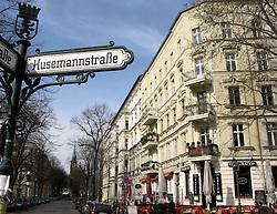 Beautiful historic buildings in KollwitzPlatz in heart of bohemian district of Prenzlauer Berg in Berlin Germany