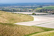 View from chalk scarp slope to village of Cherhill and town of Calne, Wiltshire, England, UK