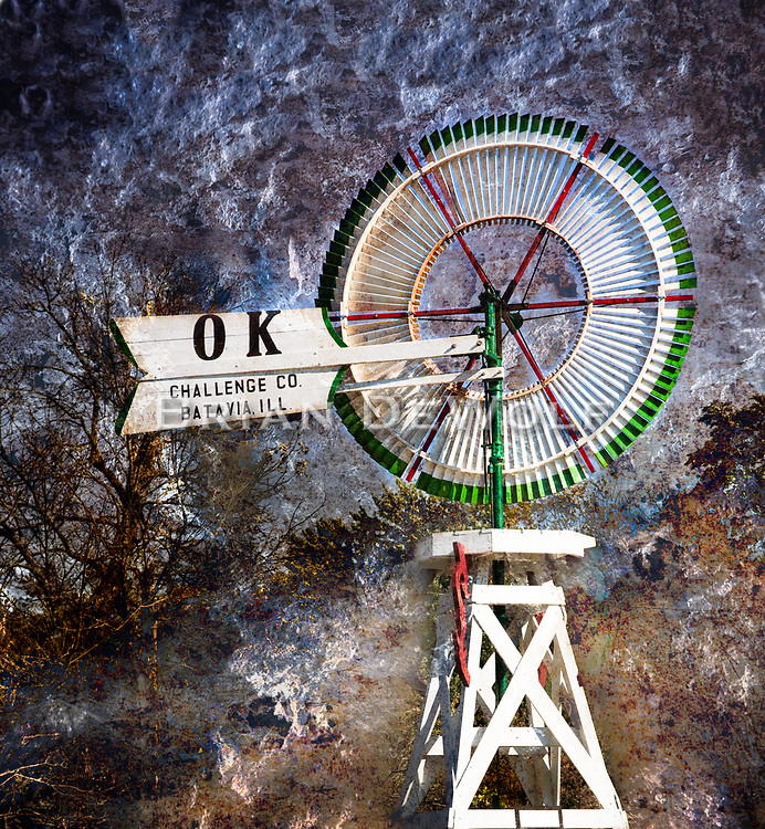 A composit image of the Challenge Windmill and Pump Company's OK Windmill.   Aspect Ratio 1w x 1.083h