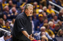 Dec 1, 2019; Morgantown, WV, USA; West Virginia Mountaineers head coach Bob Huggins yells from the bench during the second half against the Rhode Island Rams at WVU Coliseum. Mandatory Credit: Ben Queen-USA TODAY Sports