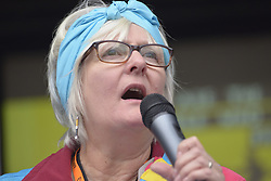November 12, 2016 - Manchester, England, United Kingdom - Sue Gough, a member of the Frack Free Rydale campaign, speaks at a protest rally against hydraulic fracturing, also known as 'fracking', on November 12, 2016 in Manchester, England. Hydraulic Fracturing is expected to take place in various locations around England, whilst the Northern Irish, Scottish and Welsh Governments has introduced moratoriums on the gas extraction method. Although fracking is a controversial form of energy extraction, due to environmental concerns, fracking is supposed to provide cheaper and more secure energy for the United Kingdom's domestic energy market. (Credit Image: © Jonathan Nicholson/NurPhoto via ZUMA Press)
