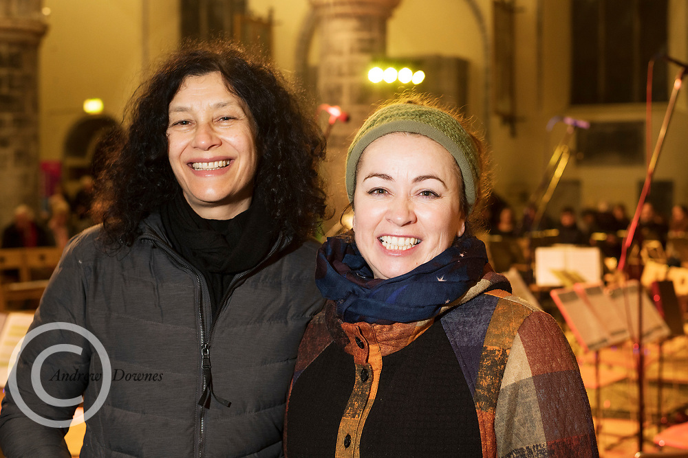 15/12/2019 repro free:   Jill McGregor Irish Film Board and and Hillary Kavanagh Blue Teapot Theatre Company   at the Galway Traditional Orchestra Christmas Concert in St Nicholas's. Photo:Andrew Downes, xposure.ie