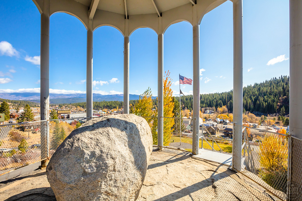 """""""Rocking Stone in Autumn 2"""" - Photograph of Truckee, California's Rocking Stone, shot in autumn."""