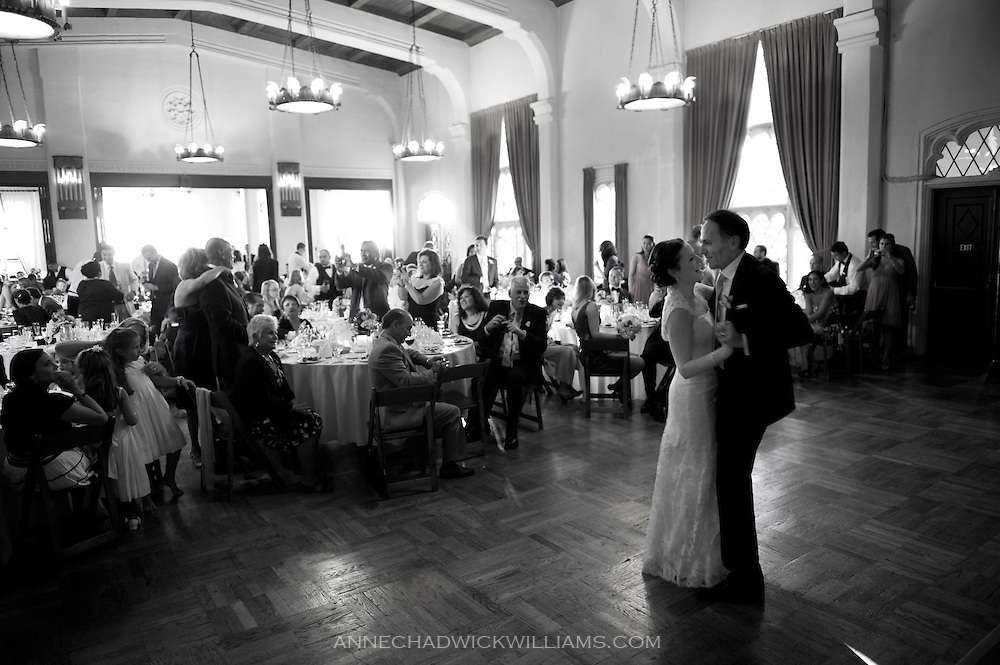 A bride and groom takes their first dance at their wedding reception at the Berkeley City Club.