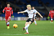 Rotherham's Ben Pringle has a shot at goal. Skybet football league championship match, Cardiff city v Rotherham Utd at the Cardiff city stadium in Cardiff, South Wales on Saturday 6th December 2014<br /> pic by Andrew Orchard, Andrew Orchard sports photography.