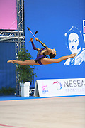 """Bektas Selen during clubs routine at the International Tournament of rhythmic gymnastics """"Città di Pesaro"""", 02 April, 2016. Selen is a Turkish individualistic gymnast, born on January 15, 2001 in Çankaya.<br /> This tournament dedicated to the youngest athletes is at the same time of the World Cup."""