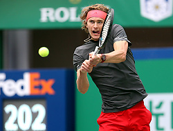 October 12, 2018 - Shanghai, China - Alexander Zverev of Germany hits a return during the men's singles quarterfinal match against Kyle Edmund of Britain at the Shanghai Masters tennis tournament in Shanghai. (Credit Image: © Fan Jun/Xinhua via ZUMA Wire)