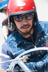 In the parking lot on Friday - for the builder-invite bike check-in for the Born-Free 6 Vintage Chopper and Classic Motorcycle Show. Silverado, CA. USA. June 27, 2014.  Photography ©2014 Michael Lichter.