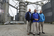 SHOT 10/29/18 9:45:43 AM - Sunrise Cooperative is a leading agricultural and energy cooperative based in Fremont, Ohio with members spanning from the Ohio River to Lake Erie. Sunrise is 100-percent farmer-owned and was formed through the merger of Trupointe Cooperative and Sunrise Cooperative on September 1, 2016. Photographed at the Clyde, Ohio grain elevator was George D. Secor President / CEO and John Lowry<br /> Chairman of the Board of Directors with  CoBank RM Gary Weidenborner. (Photo by Marc Piscotty © 2018)