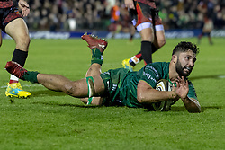 November 3, 2018 - Galway, Ireland - Colby Fainga'a of Connacht scores a try during the Guinness PRO14 match between Connacht Rugby and Dragons at the Sportsground in Galway, Ireland on November 3, 2018  (Credit Image: © Andrew Surma/NurPhoto via ZUMA Press)