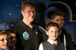 British astronaut Tim Peake during a visit to Clyde Space in Glasgow, where he took part in a Q & A with children from from Baljaffray Primary School and Bearsden Academy.