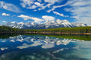 Herbert Lake reflection and Rocky Mountains<br /> Banff National aArk<br /> Alberta<br /> Canada