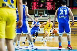 Jan Novak of GGD Sencur vs Blaž Ivec of Zlatorog Lasko  during basketball match between GGD Sencur and Zlatorog Lasko in First Round of 1. SKL 2020/21, on October 31, 2020 in Sport hall Sencur, Sencur, Slovenia. Photo by Grega Valancic / Sportida