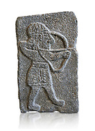 Hittite relief sculpted orthostat panel of an archer from the Palace of King Kapara, from Tell Halaf, ancient Guzana, Syria, iX cent BC, Louvre Museum. Cat No 11072. White background