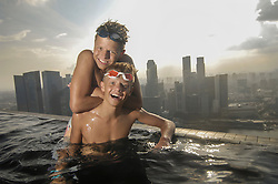 Teenage boys having fun at the pool, Marina Bay Sands, Singapore City, Singapore