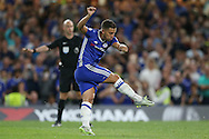 Eden Hazard of Chelsea takes a penalty to score his sides 1st goal to make it 1-0. Premier league match, Chelsea v West Ham United at Stamford Bridge in London on Monday 15th August 2016.<br /> pic by John Patrick Fletcher, Andrew Orchard sports photography.