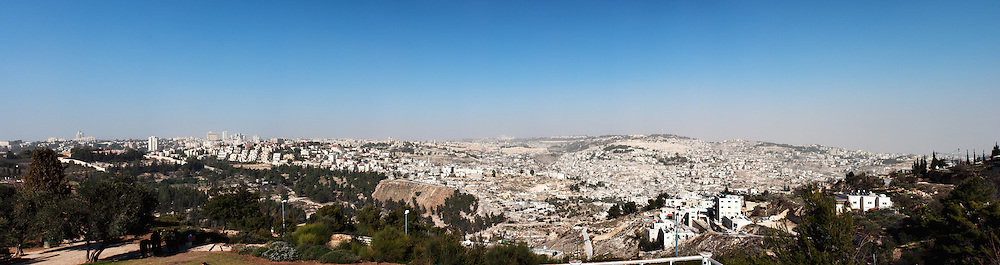 Panoramic view of old and new Jerusalem skyline from the Haas Promenade (Tayelet) in Armon Hanatziv. WATERMARKS WILL NOT APPEAR ON PRINTS OR LICENSED IMAGES.