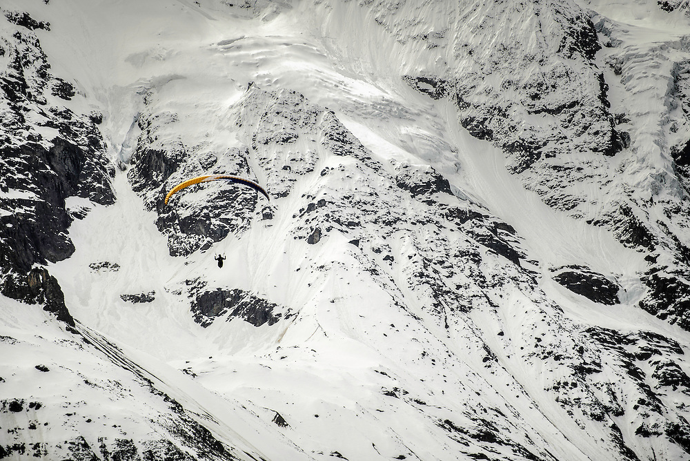 From Murren they find a wind that lifts their wings over the Mountain landscape. A blanket of snow under their feet will soon change into a green farm land where they will fly for a mile until they return to land.