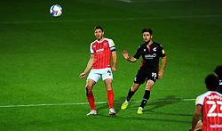 Ben Tozer of Cheltenham Town competes with Aaron Jarvis of Scunthorpe United- Mandatory by-line: Nizaam Jones/JMP - 20/10/2020 - FOOTBALL - Jonny-Rocks Stadium - Cheltenham, England - Cheltenham Town v Scunthorpe United - Sky Bet League Two