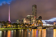 Melbourne Central Business District at Night Along the Yarra River