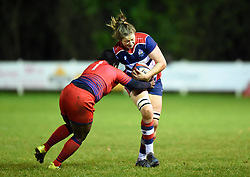 Amelia Buckland-Hurry of Bristol Ladies is tackled by Akina Gondwe of Worcester Valkyries - Mandatory by-line: Paul Knight/JMP - 16/12/2017 - RUGBY - Cleve RFC - Bristol, England - Bristol Ladies v Worcester Valkyries - Tyrrells Premier 15s