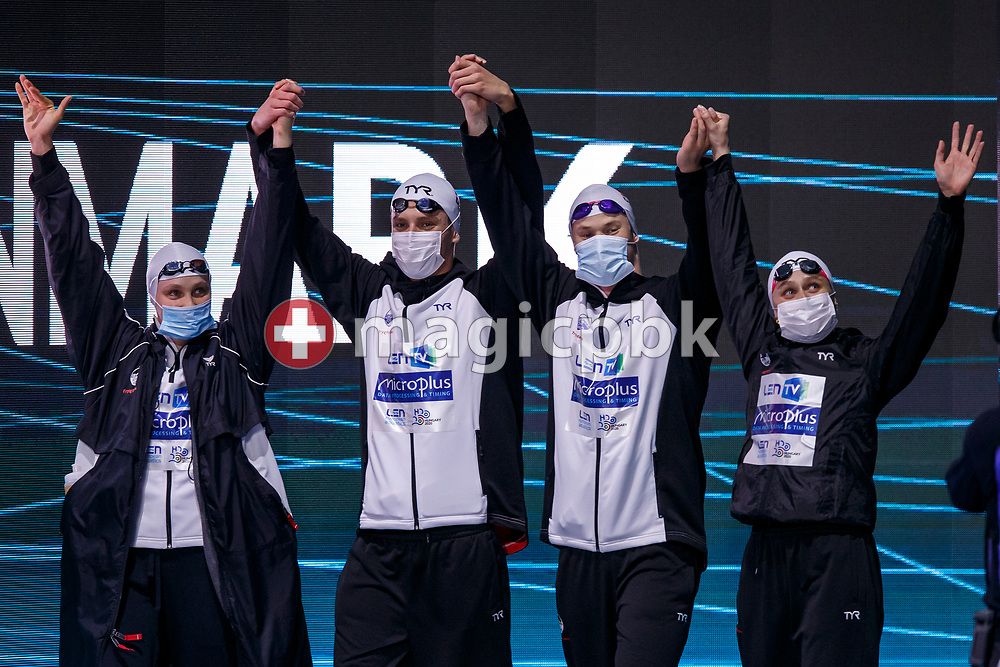 (L-R) Julie Kepp Jensen, Frederik Riedel Lentz, Mathias Rysgaard and Signe Bro of Denmark walk in before competing in the mixed 4x100m Freestyle Relay Final during the swimming events of the LEN European Aquatics Championships in Budapest, Hungary, Saturday, May 22, 2021. (Photo by Patrick B. Kraemer / MAGICPBK)
