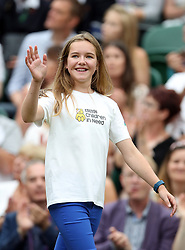 Rebecca Jones (aged 12) who will take part in the coin toss ceremony on Centre Court on day twelve of the Wimbledon Championships at The All England Lawn Tennis and Croquet Club, Wimbledon.