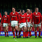 Wales' players stand dejected at the final whistle after losing 40-25 after being ahead 25-0 at half time