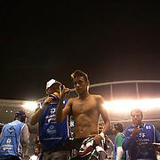 Young Brazilian player Neymar, conducts radio interviews after playing for Santos during the Fluminense V Santos, Futebol Brasileirao  League match in Rio de Janeiro, Santos won the match 3-0. Rio de Janeiro Brazil. 6th October 2010. Photo Tim Clayton.