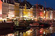 Nightlife in the famous Nyhavn, , old canal harbour in Copenhagen on Zealand, Denmark
