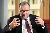 03 MAY 2021, BERLIN/GERMANY:<br /> Siegfried Russwurm, Praesident Bundesverband der Deutschen Industrie, BDI, und Aufsichtsratschef Thyssenkrupp, waehrend einem Interview, BDI, Haus der Wirtschaft<br /> IMAGE: 20210503-02-004