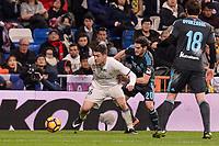 Real Madrid's Mateo Kovacic and Real Sociedad's Joseba Zaldua during La Liga match between Real Madrid and Real Sociedad at Santiago Bernabeu Stadium in Madrid, Spain. January 29, 2017. (ALTERPHOTOS/BorjaB.Hojas)