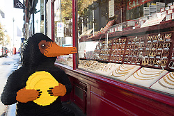 EDITORIAL USE ONLY A LEGO brick Niffler, which is a fan-favourite creature from the new J.K. Rowling film Fantastic Beasts: The Crimes of Grindelwald, appears in Hatton Garden in London to celebrate LEGO GroupÕs new range of Wizarding World play sets.