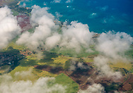 Aerial over the north shore of Maui, Hawaii