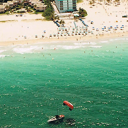 Aerial view or photograph of the Hollywood, Miami Beach areas of Florida