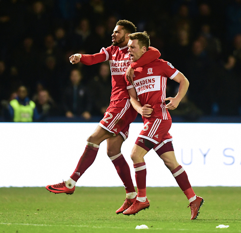 Middlesbrough's Jonathan Howson, right, celebrates scoring his sides equalising goal to make the score 1-1 with team-mate Cyrus Christie<br /> <br /> Photographer Chris Vaughan/CameraSport<br /> <br /> The EFL Sky Bet Championship - Sheffield Wednesday v Middlesbrough - Saturday 23rd December 2017 - Hillsborough - Sheffield<br /> <br /> World Copyright © 2017 CameraSport. All rights reserved. 43 Linden Ave. Countesthorpe. Leicester. England. LE8 5PG - Tel: +44 (0) 116 277 4147 - admin@camerasport.com - www.camerasport.com