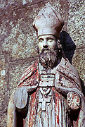 Medieval wooden religious statue sculpture of a bishop, Brittany, France, location not known, 1974