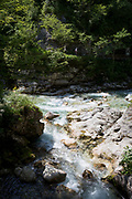Marking the most southern boundary of the Triglav national Park is the confluence of the rivers Tolminka and Zadlascica at Tolminska Korita, on 20th June 2018, in Tolmin Gorge, Slovenia.