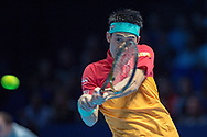 Kei Nishikori of Japan during the Nitto ATP World Tour Finals at the O2 Arena, London, United Kingdom on 11 November 2018. Photo by Martin Cole