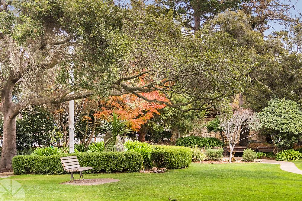 Carmel-by -the Sea on Ocean Avenue, Diffendorf Park, downtown, California,