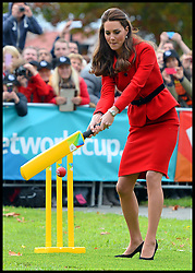 The Duke and Duchess play cricket in a 2015 Cricket World Cup event in Christchurch, New Zealand on day 8 of the Royal Tour of New Zealand and Australia. Monday, 14th April 2014. Picture by Andrew Parsons / i-Images