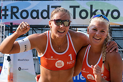 Katja Stam (1) of The Netherlands, Holland, Raisa Schoon (2) of The Netherlands, Holland in action during CEV Continental Cup Final Day 1 - Women on June 23, 2021 in The Hague