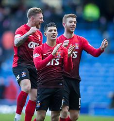 Kilmarnock's Jordan Jones leads celebrations during the Ladbrokes Scottish Premiership match at Ibrox Stadium, Glasgow.